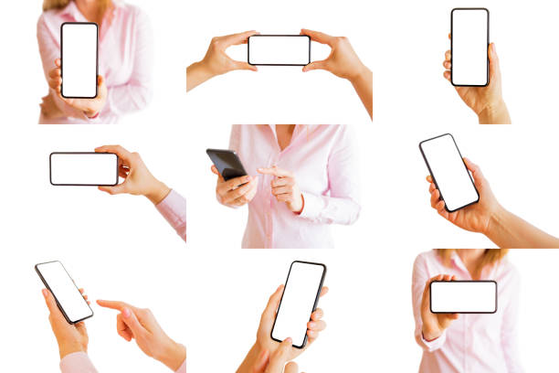 collage of different isolated photos of person holding mobile phone in hands - people stencils silhouette stock photos and pictures