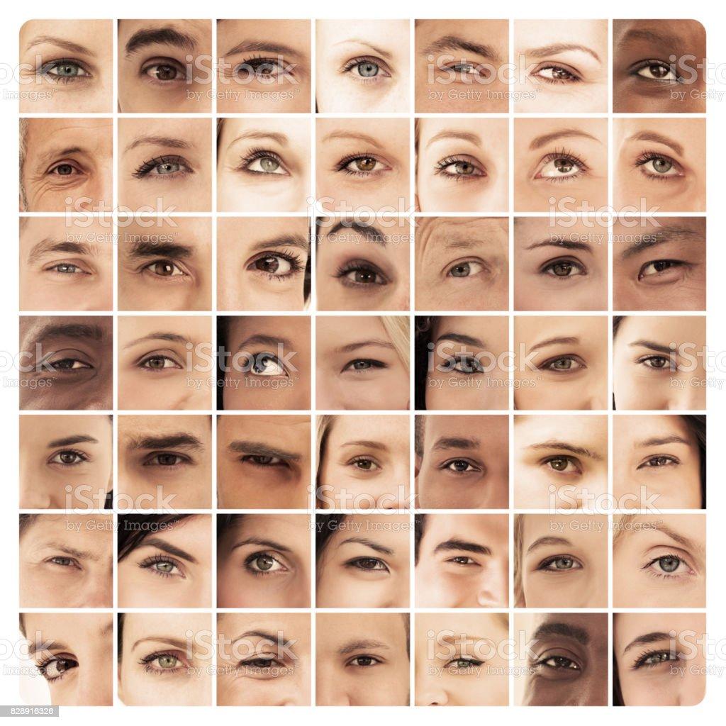 Collage aus verschiedenen Bildern von verschiedenen Augen – Foto