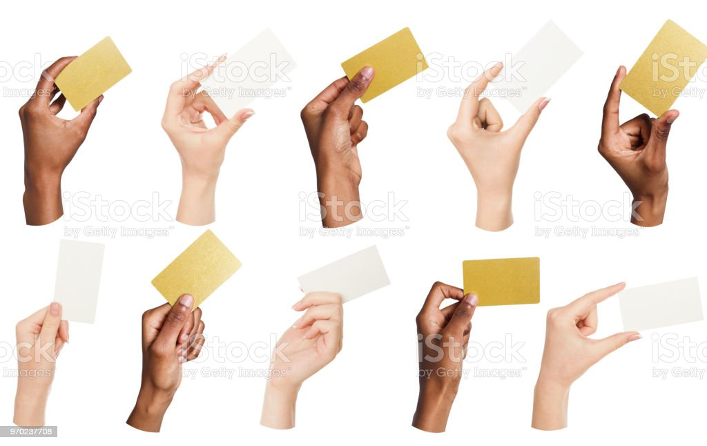 Collage of diverse hands holding blank business cards, isolated royalty-free stock photo