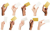Collage of diverse hands holding blank business cards, isolated
