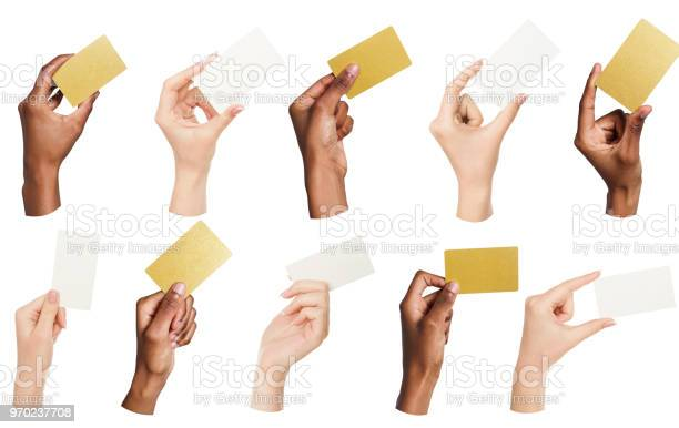 Collage of diverse hands holding blank business cards isolated picture id970237708?b=1&k=6&m=970237708&s=612x612&h=yurcvyeqmofqbqkje9dabuyh6eyceu1rivqjit8y5zw=