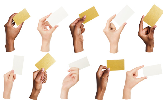 Collage Of Diverse Hands Holding Blank Business Cards Isolated Stock Photo - Download Image Now