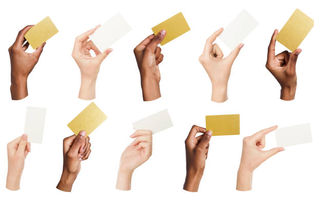 Collage of diverse hands holding blank business cards, isolated stock photo