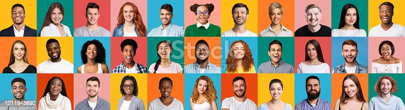Collage Of Diverse People Portraits With Smiling Millennials, Female And Male Faces On Colorful Backgrounds. Panorama