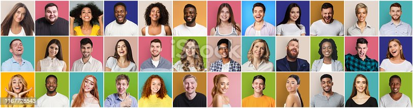 Collage of diversed people expressing positive emotions on colorful backgrounds, panorama