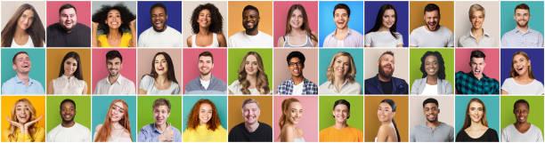 Collage von unterschiedlichen Menschen, die positive Emotionen ausdrücken – Foto
