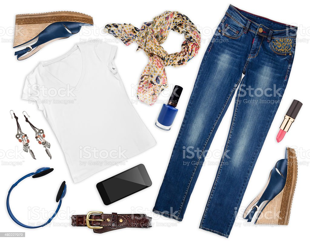Collage of female autumn clothes and assessories isolated stock photo