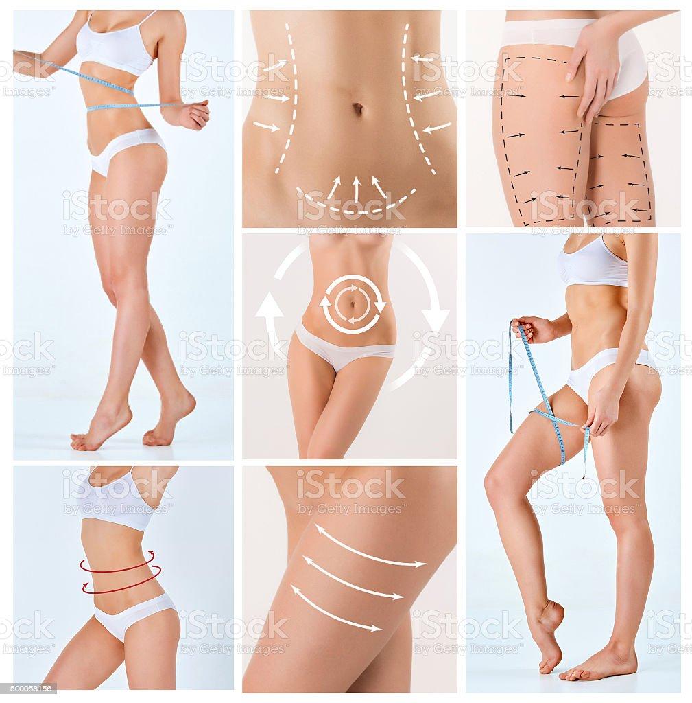 Collage de cuerpo hembra con el dibujo flechas - foto de stock