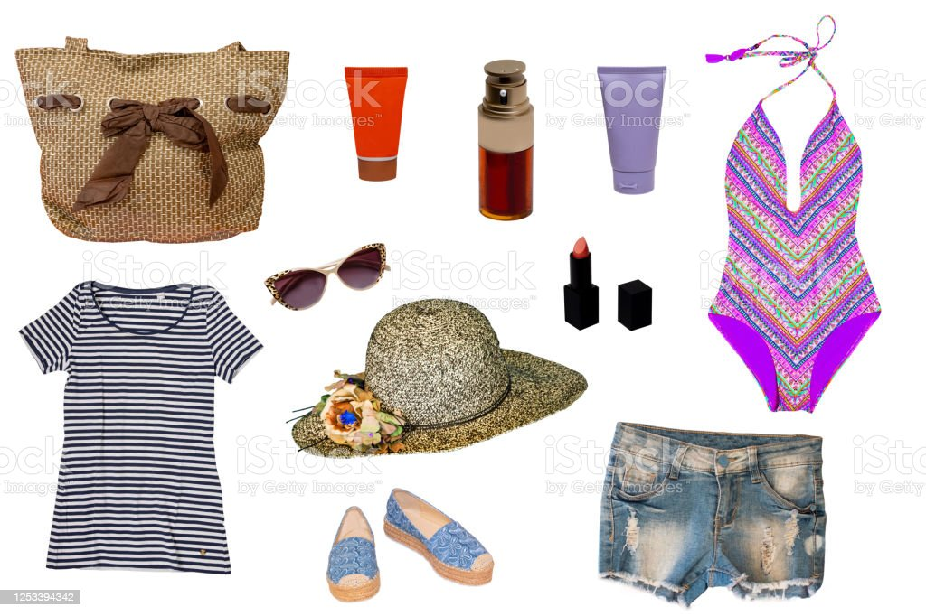 Collage Of Female Summer Beach Clothes And Accessories Consist Swimsuit Hat Beach Shoes Bag Shirt Sun Oil And Cream Lipstick And Short Jeans Isolated On A White Background Ladies Summer Fashion Set