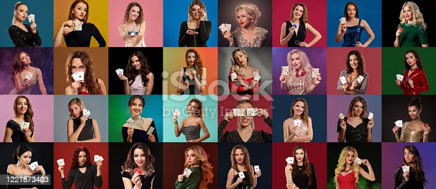 Collage of gorgeous females with professional make-up and hairstyles, in stylish dresses and jewelry. They smiling, showing playing cards and chips, posing on colorful backgrounds. Poker, casino