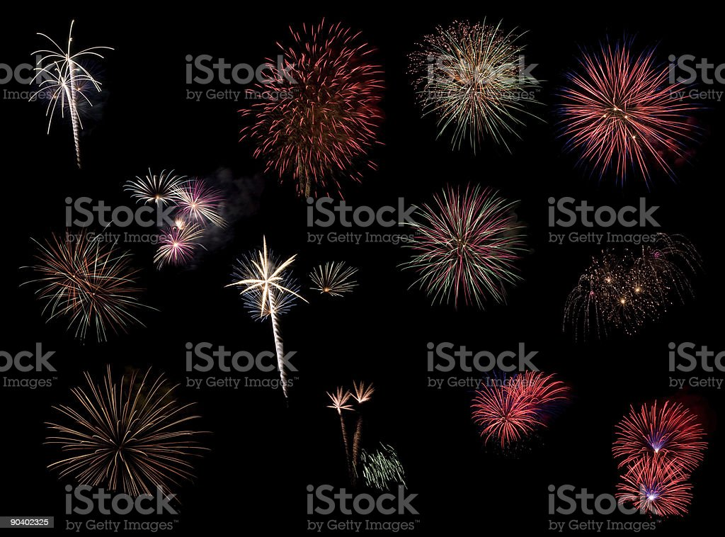 Collage of Fireworks stock photo