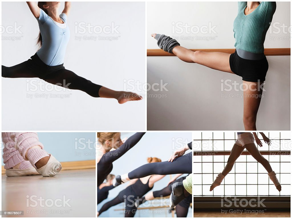 Collage of fit women practicing ballet dance stock photo