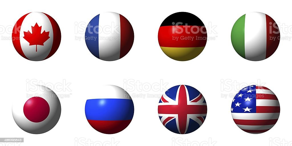 Collage of flags of the G8 countries stock photo