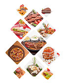 Collage of food products over white background