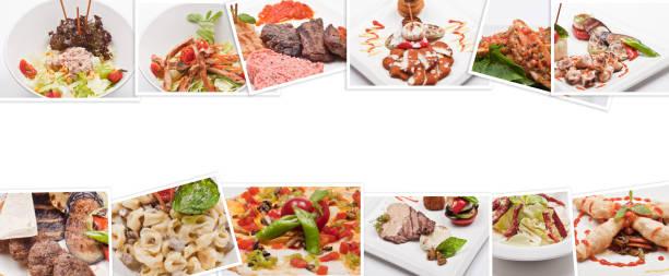 collage von lebensmitteln - pasta deli stock-fotos und bilder