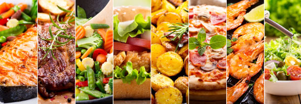 拼貼的食品產品 - 即食口糧 個照片及圖片檔