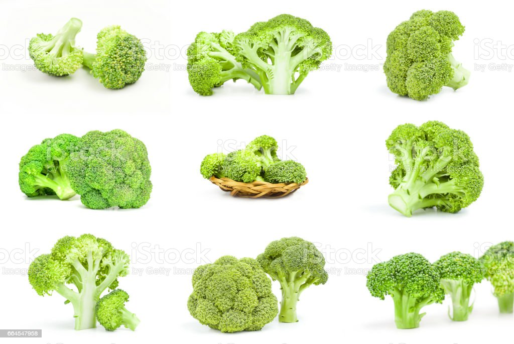 Collage of fresh raw broccoli close-up isolated on white background royalty-free stock photo