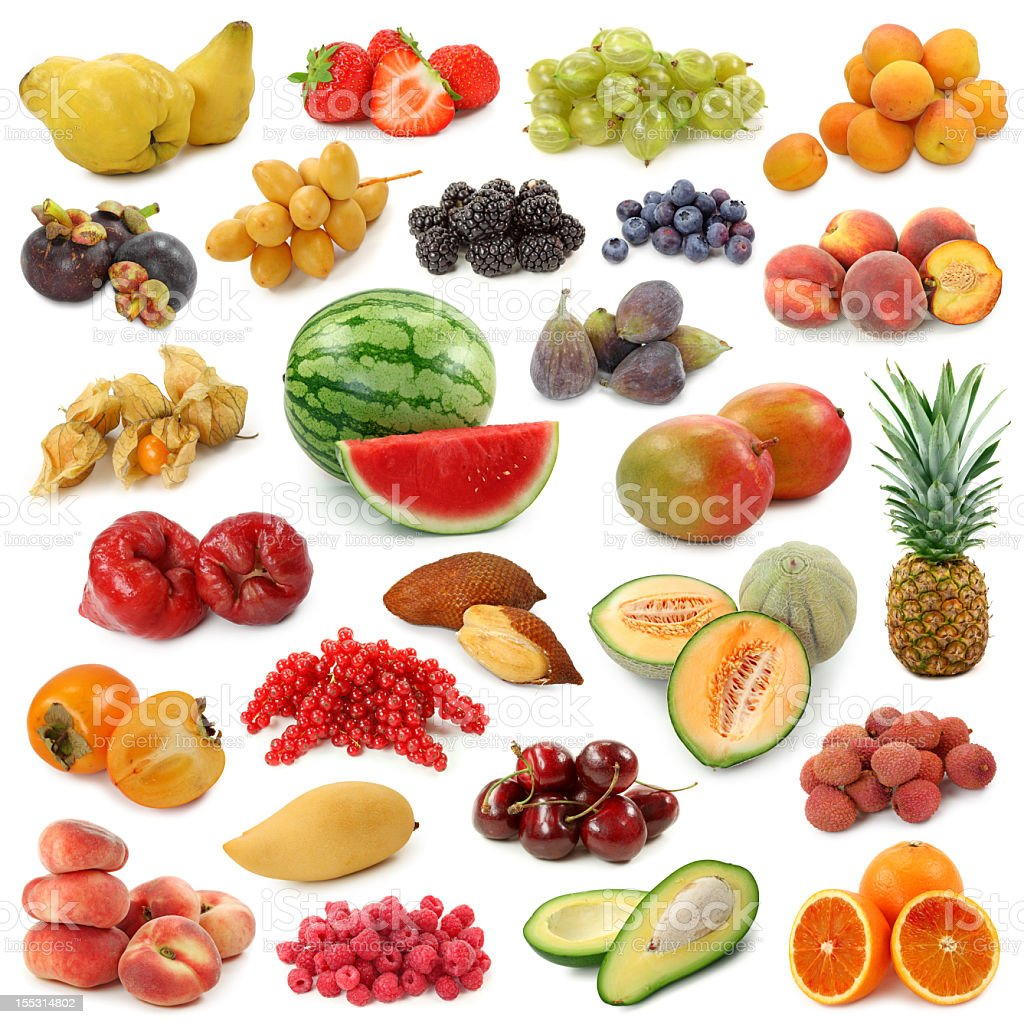 A collage of fruit on a white background royalty-free stock photo