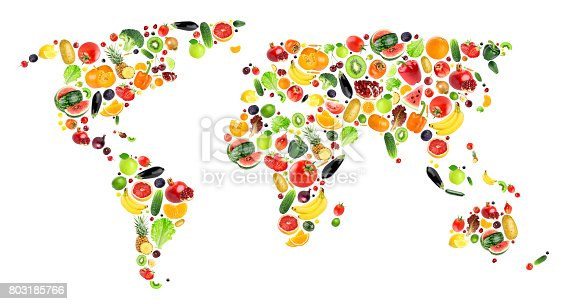 Collage of fruits and vegetables. World map