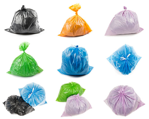 Collage of garbage bags stock photo