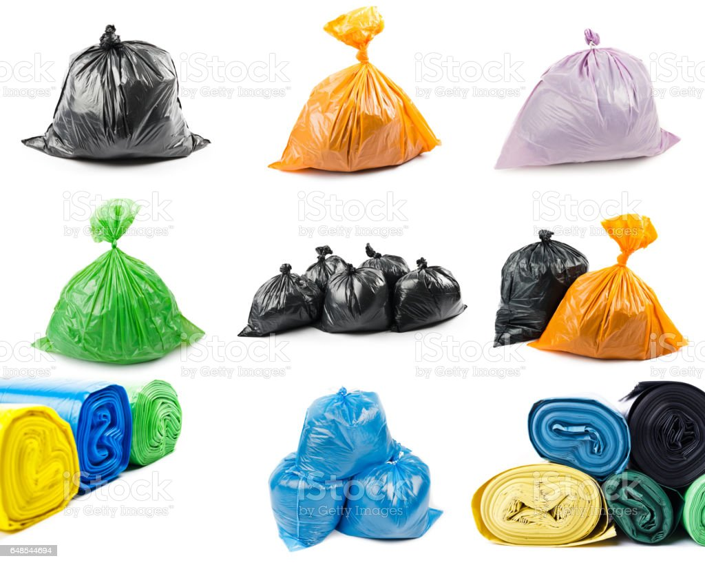 Collage de bolsas de basura - foto de stock