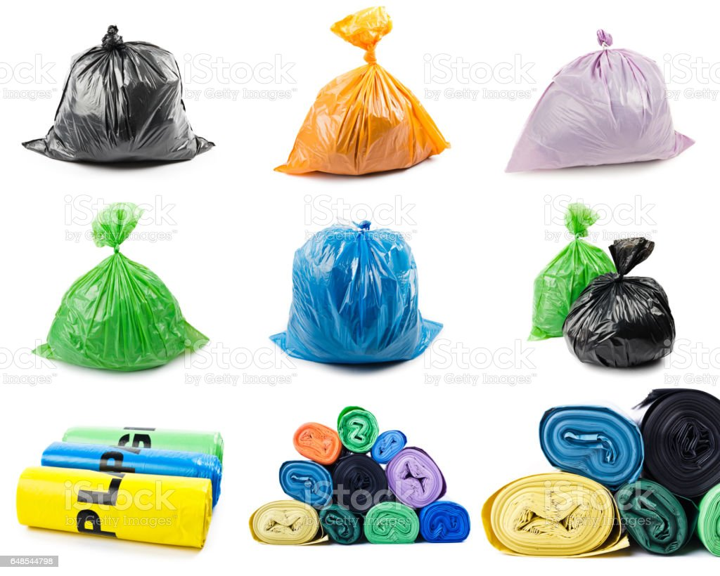 Collage of garbage bags – Foto