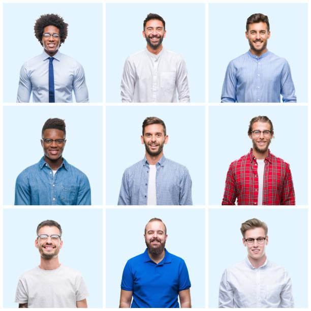 一群商業和隨意的男人在孤立的背景下, 臉上帶著快樂和清涼的笑容。幸運的人。 - 中等人數群 個照片及圖片檔