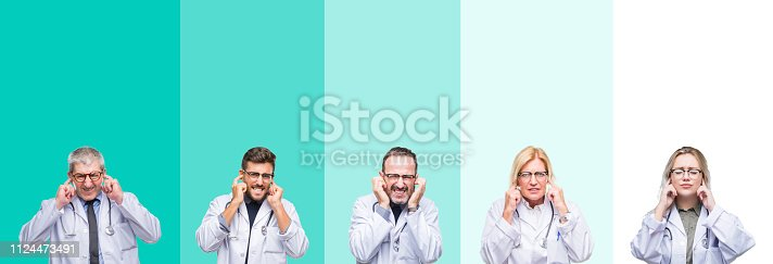 1029343276 istock photo Collage of group of doctor people wearing stethoscope over colorful isolated background covering ears with fingers with annoyed expression for the noise of loud music. Deaf concept. 1124473491