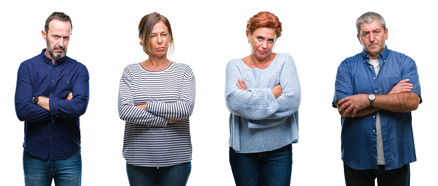 istock Collage of group of elegant middle age and senior people over isolated background skeptic and nervous, disapproving expression on face with crossed arms. Negative person. 1124703467