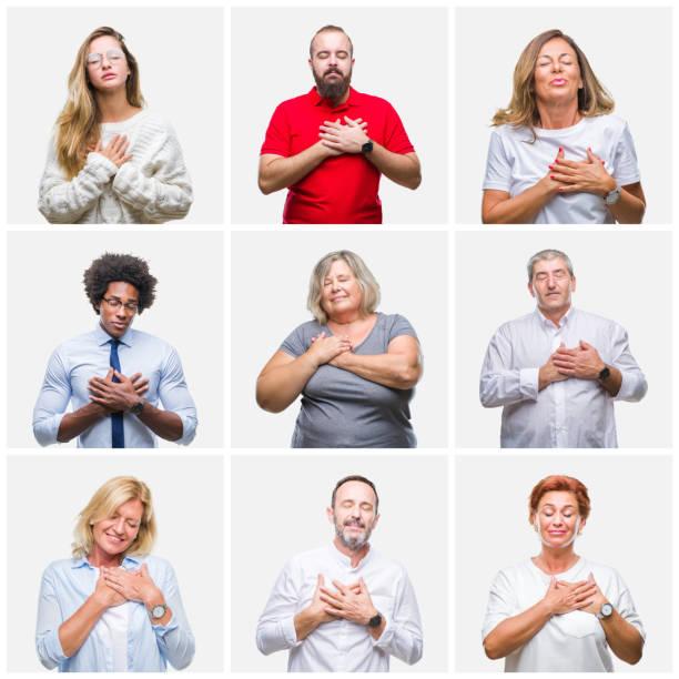 collage von gruppen von jungen, mittleren und älteren menschen über isolierten hintergrund lächelnd mit händen auf der brust mit geschlossenen augen und dankbare geste im gesicht. gesundheitskonzept. - die wahrheit tut weh stock-fotos und bilder
