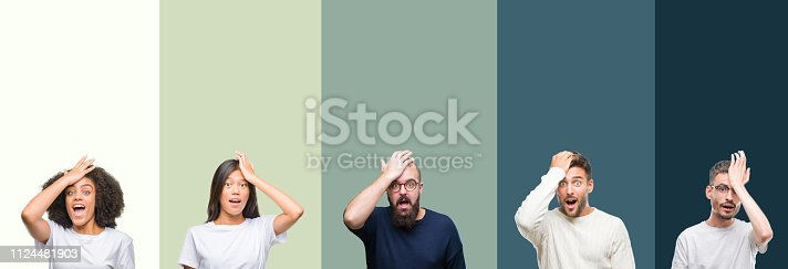 istock Collage of group of young people over colorful isolated background surprised with hand on head for mistake, remember error. Forgot, bad memory concept. 1124481903