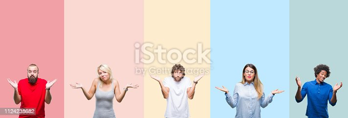 istock Collage of group of young people over colorful vintage isolated background clueless and confused expression with arms and hands raised. Doubt concept. 1124238682