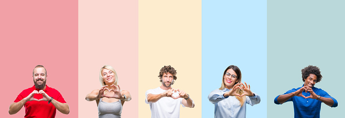Collage of group of young people over colorful vintage isolated background smiling in love showing heart symbol and shape with hands. Romantic concept.