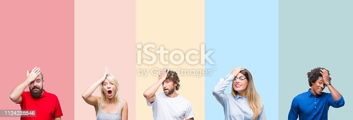 istock Collage of group of young people over colorful vintage isolated background surprised with hand on head for mistake, remember error. Forgot, bad memory concept. 1124238846