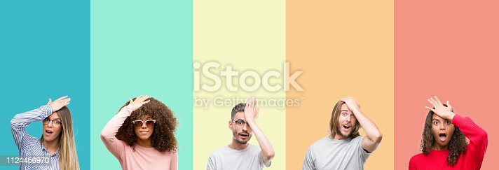 istock Collage of group of young people over colorful vintage isolated background surprised with hand on head for mistake, remember error. Forgot, bad memory concept. 1124456970