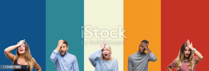 istock Collage of group of young people over colorful vintage isolated background surprised with hand on head for mistake, remember error. Forgot, bad memory concept. 1124501983