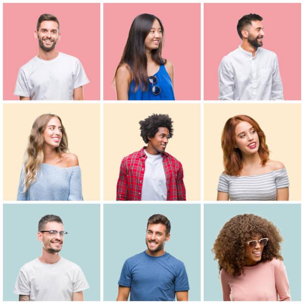 一群年輕人的男女在五顏六色的孤立背景下, 面朝一邊看著身邊, 自然地表達著。笑著自信。 - 中等人數群 個照片及圖片檔