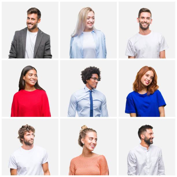 collage av grupp ungdomar kvinna och män över isolerad bakgrund tittar bort till sidan med leende på läpparna, naturligt uttryck. skrattar säker. - profile photo bildbanksfoton och bilder
