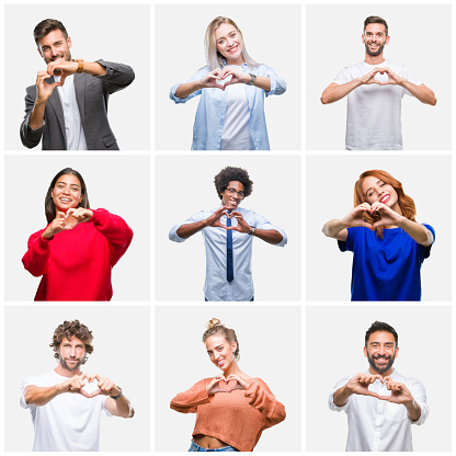 Collage of group of young people woman and men over isolated background smiling in love showing heart symbol and shape with hands. Romantic concept.