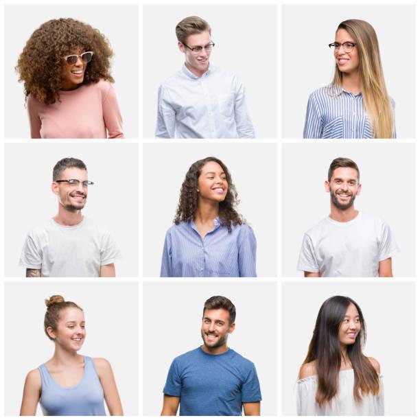 collage av grupp ungdomar kvinna och män över vit avklingat bakgrund ser bort till sidan med leende på ansiktet, naturligt uttryck. skrattar säker. - profile photo bildbanksfoton och bilder