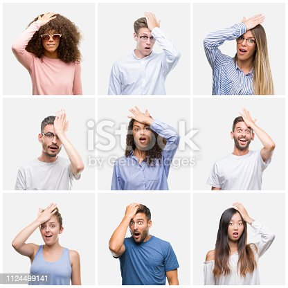 istock Collage of group of young people woman and men over white solated background surprised with hand on head for mistake, remember error. Forgot, bad memory concept. 1124499141