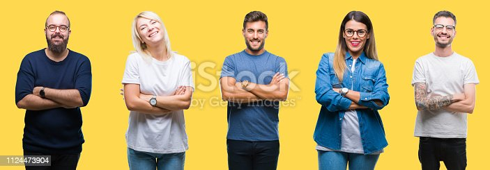 istock Collage of group people, women and men over colorful yellow isolated background happy face smiling with crossed arms looking at the camera. Positive person. 1124473904