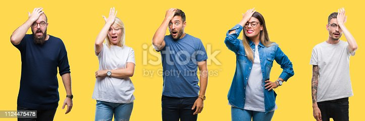 istock Collage of group people, women and men over colorful yellow isolated background surprised with hand on head for mistake, remember error. Forgot, bad memory concept. 1124475478