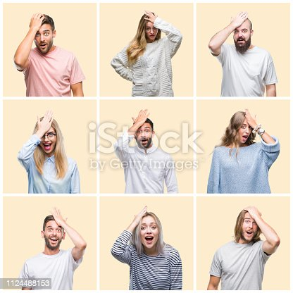 istock Collage of group people, women and men over colorful yellow isolated background surprised with hand on head for mistake, remember error. Forgot, bad memory concept. 1124488153