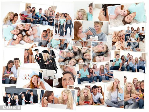 istock Collage of groups of young people having fun together 826881016