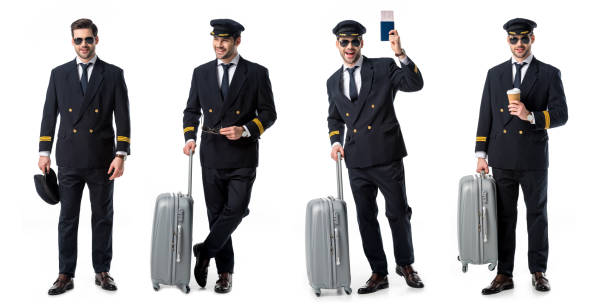 collage of handsome pilot in black uniform standing with suitcase, passport and cup of coffee isolated on white collage of handsome pilot in black uniform standing with suitcase, passport and cup of coffee isolated on white pilot stock pictures, royalty-free photos & images