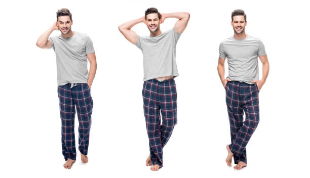 collage of handsome relaxing young man in pajama standing and smiling isolated on white - pajamas stock photos and pictures
