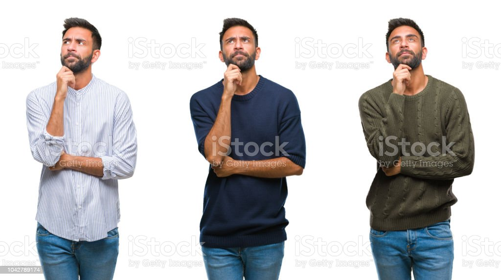 Collage of handsome young indian man over isolated background with hand on chin thinking about question, pensive expression. Smiling with thoughtful face. Doubt concept. stock photo