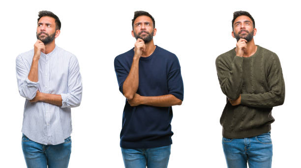 collage of handsome young indian man over isolated background with hand on chin thinking about question, pensive expression. smiling with thoughtful face. doubt concept. - sud europeo foto e immagini stock
