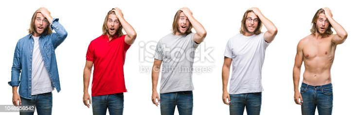 1046559700istockphoto Collage of handsome young man wearing casual look over white isolated backgroud surprised with hand on head for mistake, remember error. Forgot, bad memory concept. 1046556542